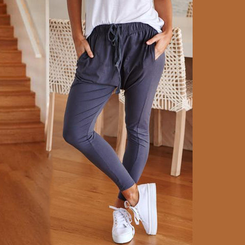 Fashion Solid Color Casual  Trousers