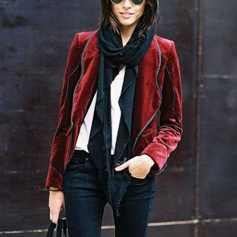 Autumn and winter fashion pure color Blazer
