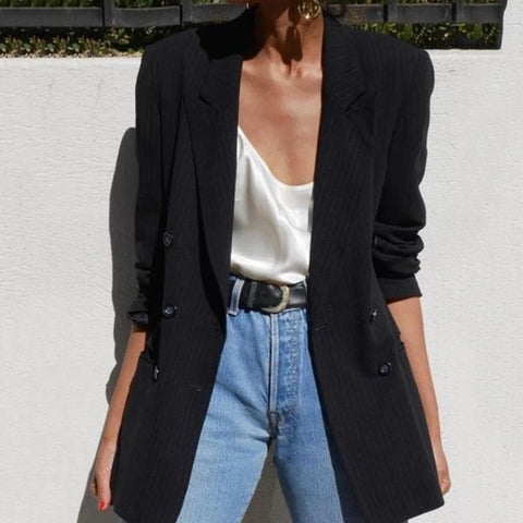 V-Neck Long-Sleeved Black Blazer