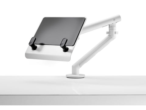 Laptop Mount with flo monitor arm finished in white