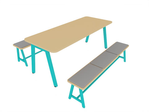 loco blue frame meeting bench