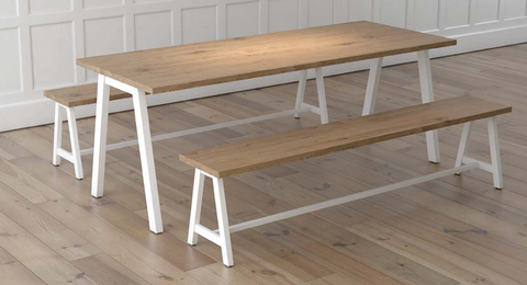 Loco collaboration bench with solid oak top