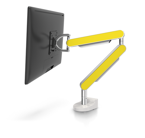 ZG1 Polished Aluminium Monitor Arm With Yellow Side Panels| Niod Ergonomics