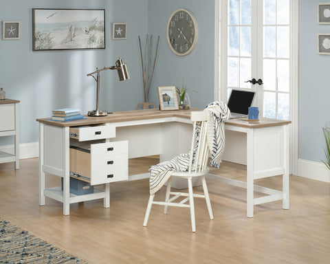 Lintel Oak L-shaped Home Office Desk - New Image Office Design Ltd