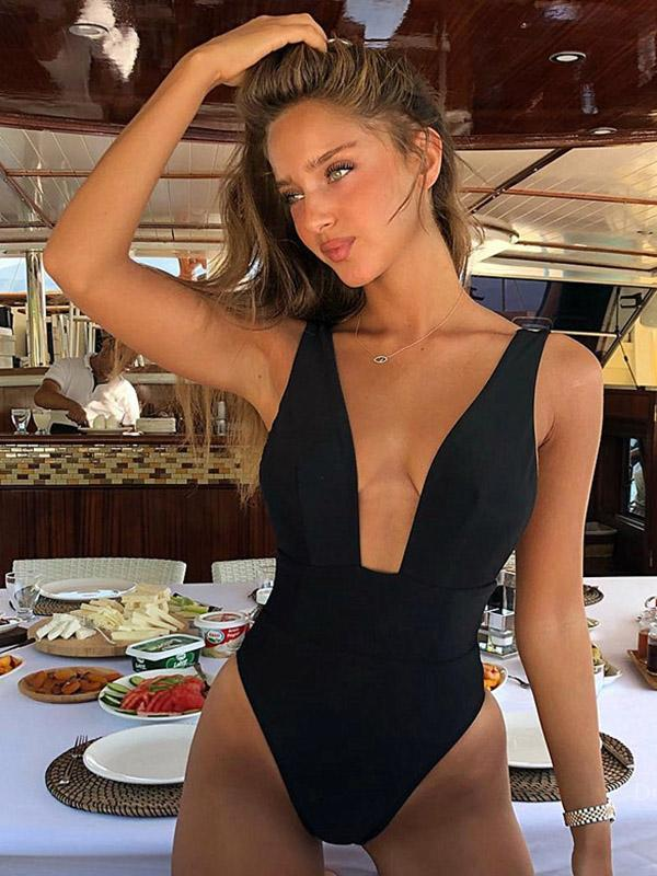11Colors Plain One-piece Swimwear