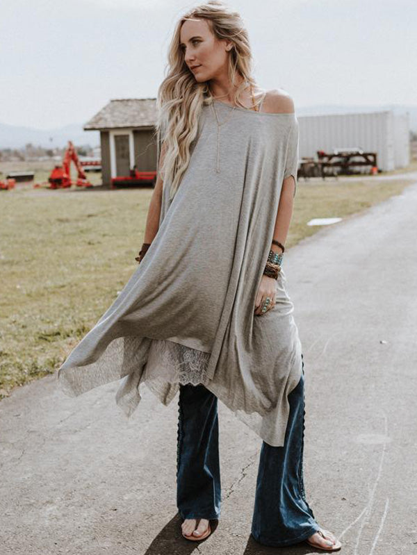 Asymmetric Loose Blouses&Shirts Tops