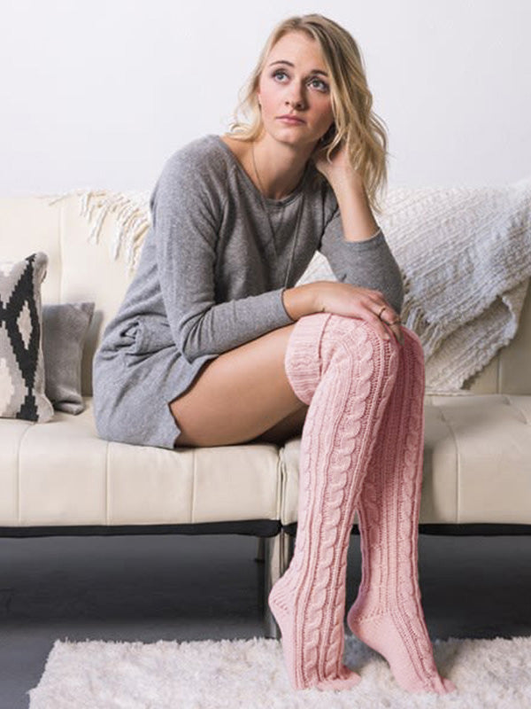 Solid Twisted Over Knee High Leg Warmers