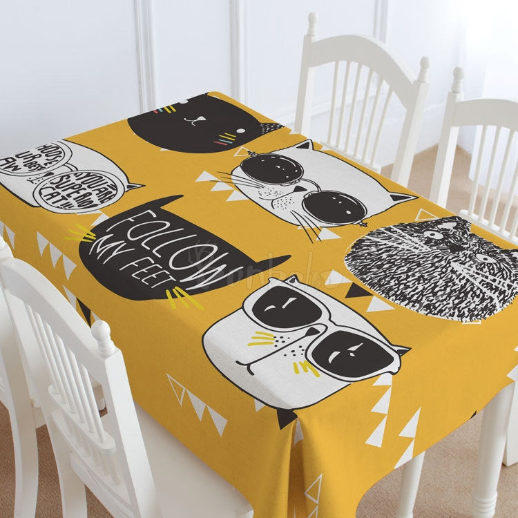 Yellow Cats Casual Printed Tablecloth