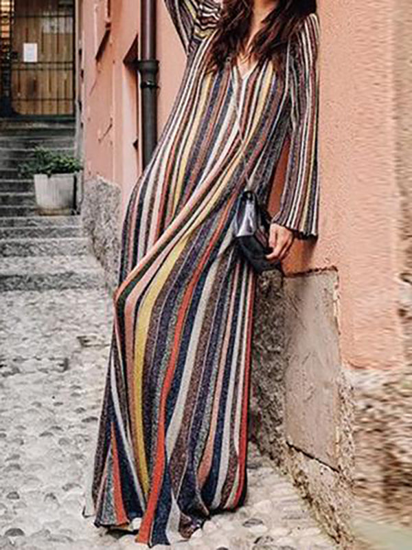 Striped Long Sleeves V-neck Maxi Dress