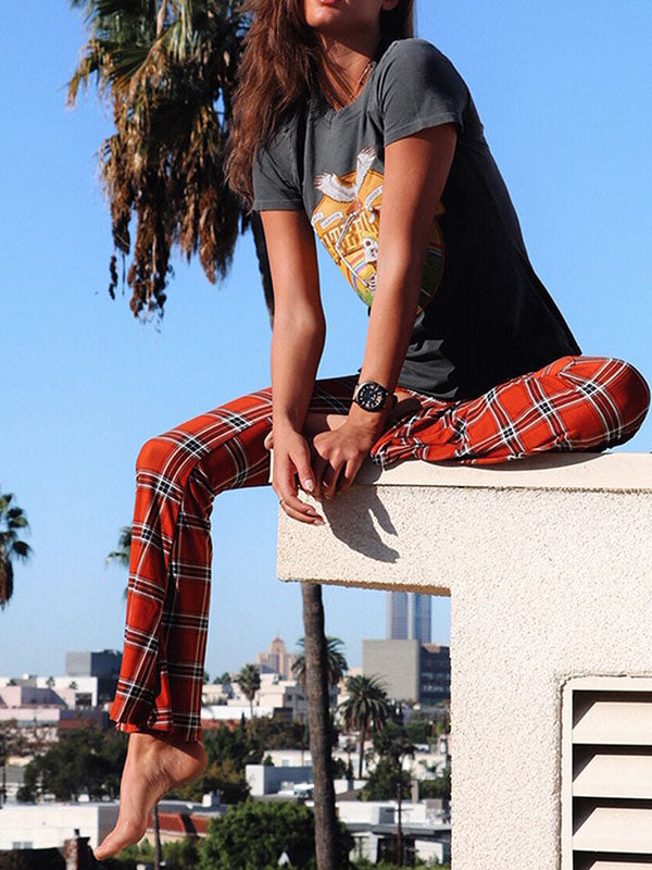 Vintage Plaid Bell-bottoms Pants