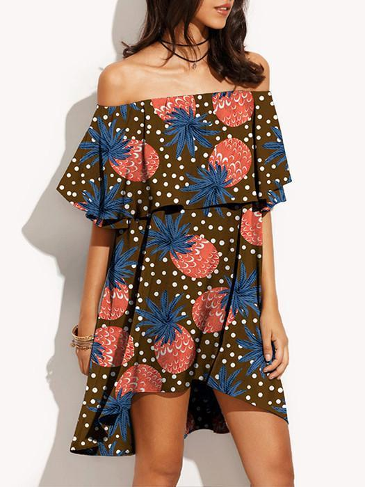 Flat Shoulder Pineapple Print Hi-low Mini Beach Dress
