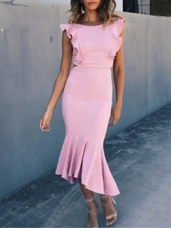 Falbala Backless Solid Midi Dresses