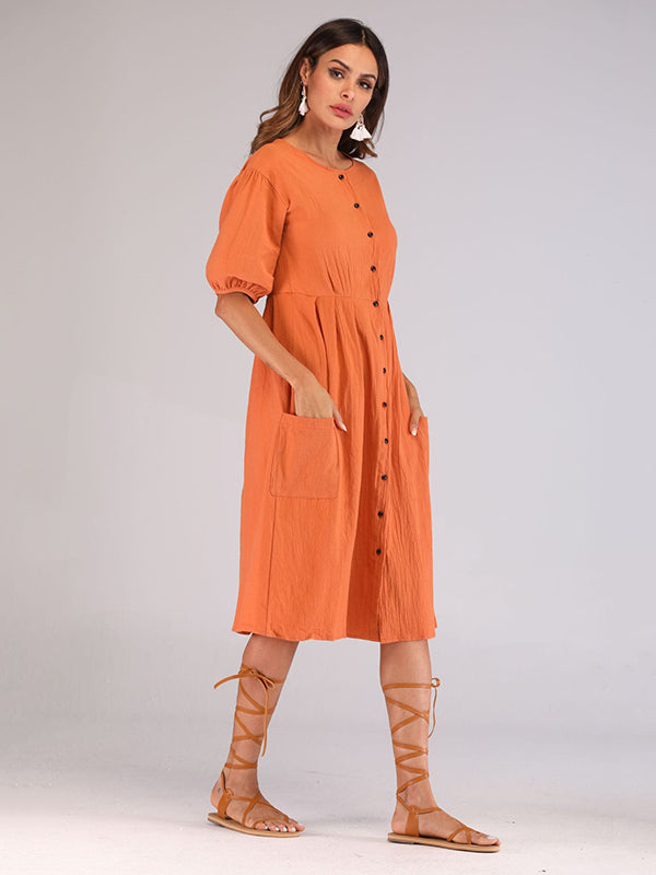 Casual Round-Neck solid Midi Dresses