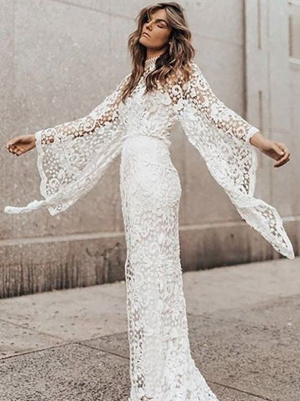 Two-pieces Lace Flared-sleeves Evening Dress