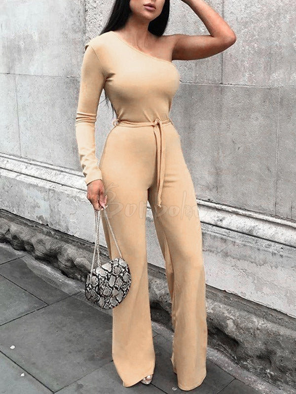 Solid Bandage One-Shoulder Wide Leg Jumpsuits