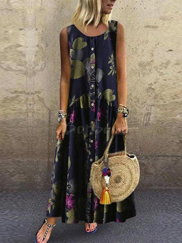 Spagetti-neck V-neck Bohemia Maxi Dress