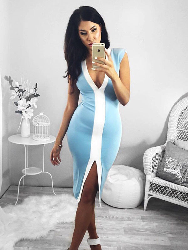 Deep V-neck Split Front Midi Dresses