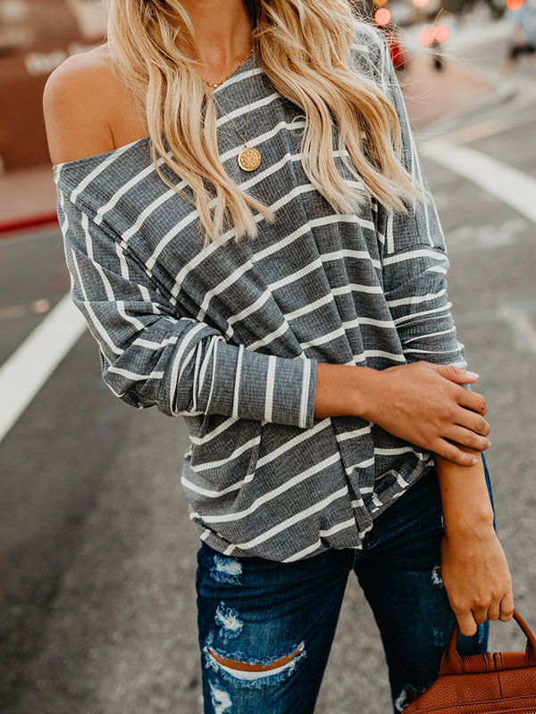 Fashion Long Sleeves Striped Sweater Tops