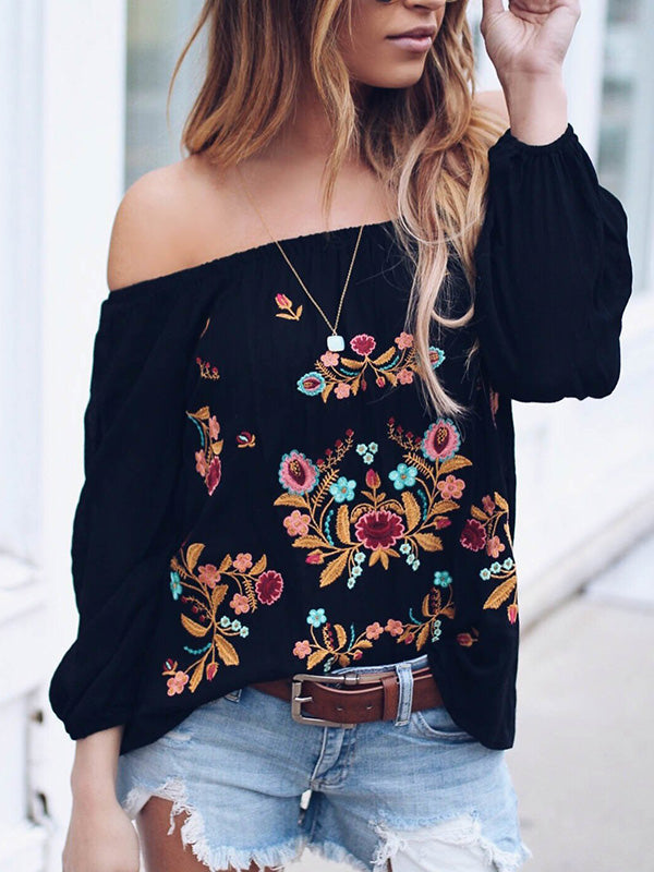 Chiffon Shirt Embroidered Blouses