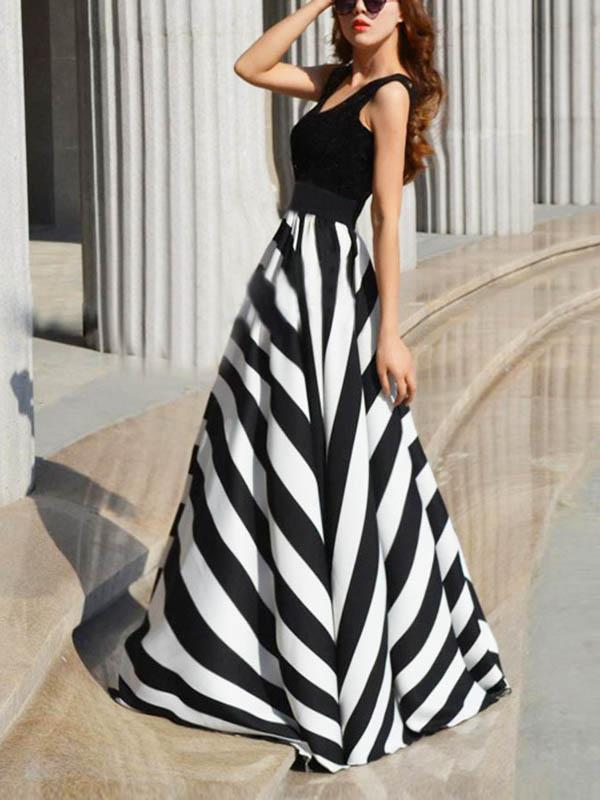 Striped Split-joint Sleeveless Evening Dress