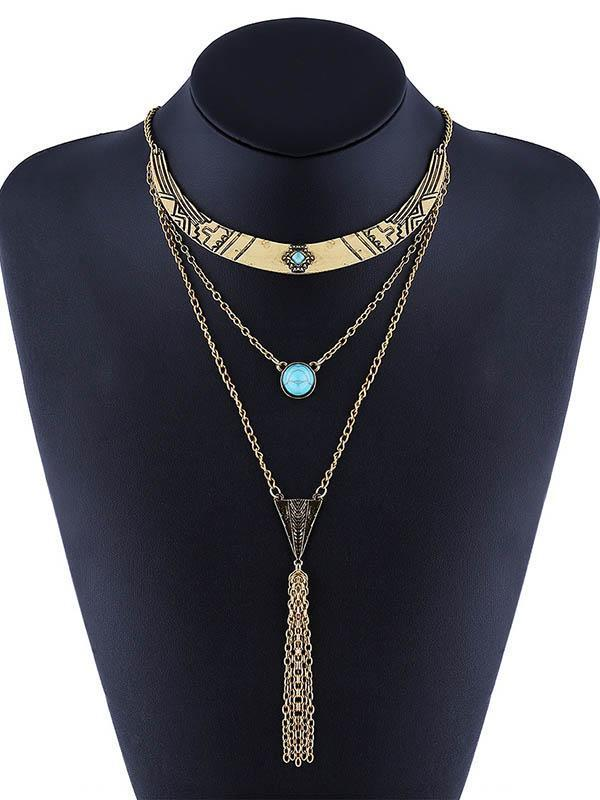 Bohemia Multilayer Turquoise Tassels Necklaces Accessories