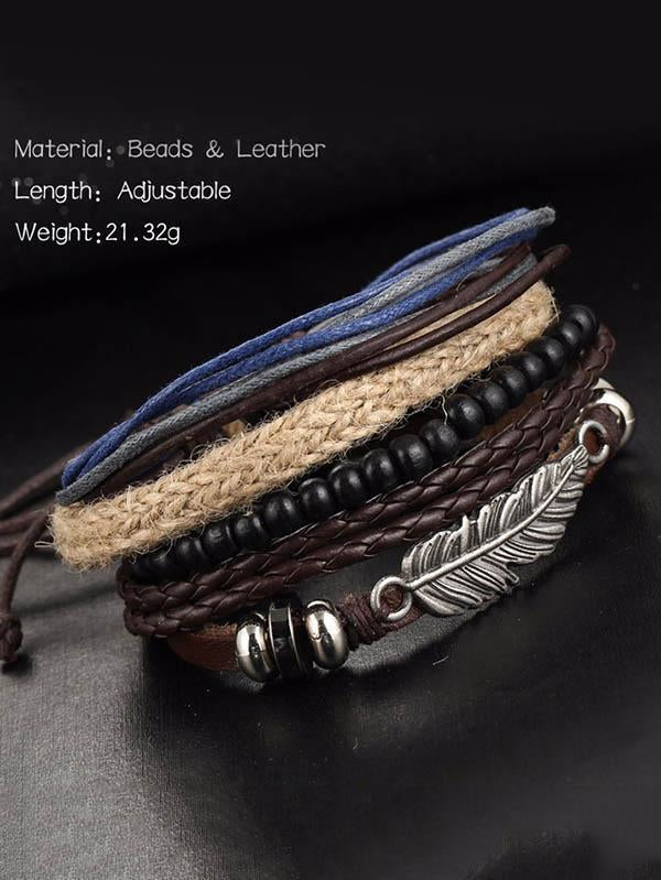 Multilayer Feather Wooden Bead Bracelet Accessories