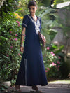 Navy Blue Floral Short Sleeves Maxi Dress Cover-Ups