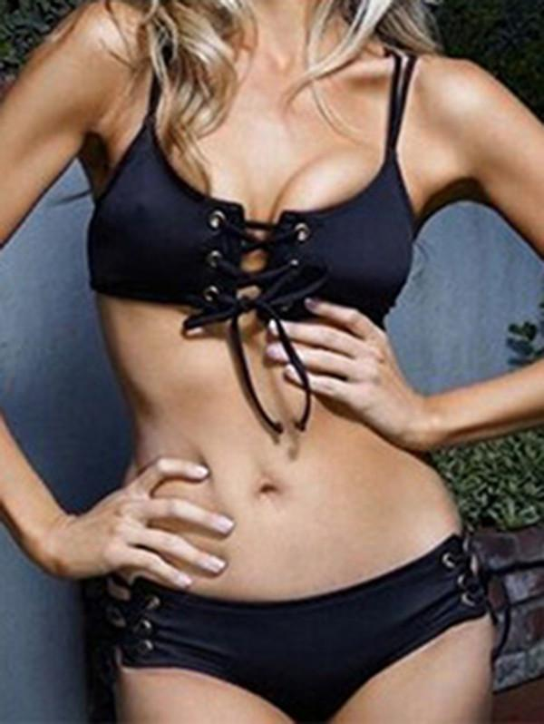 Two-Piece Raised Bands Black Bikinis Swimwear With Chest Steel and Pad