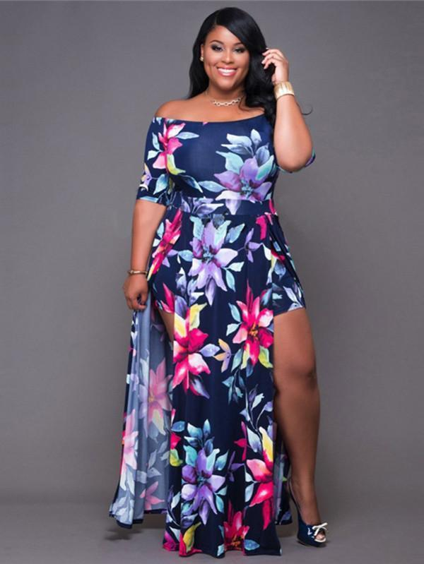 Pretty Sexy Floral-Print  Short Sleeve Off-Shoulder Side Split Maxi Dress