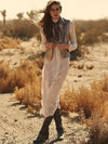 National Style Inwrought Long Sleeve V Neck Bohemia Beach Long Dress