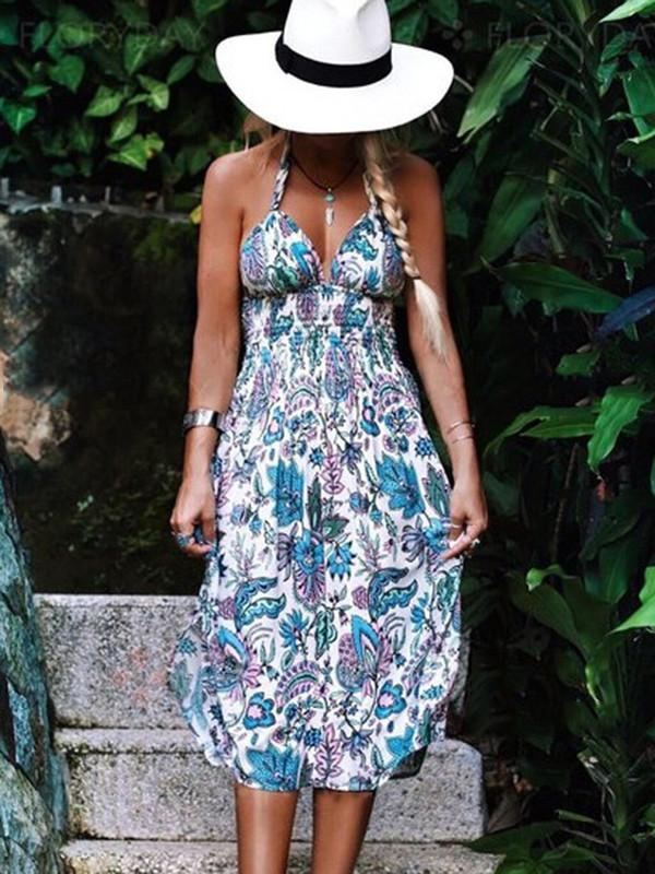 Pretty Sexy Floral-Print Straps Off-Back V Neck Lace-Up Midi Dress