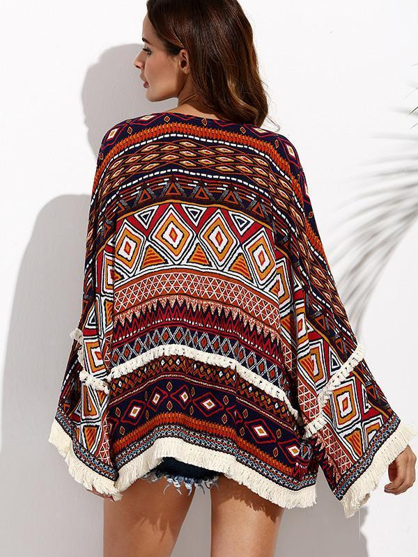 Beautiful Floral-Print Tassel Long Sleeve Beach Cover-Ups