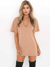 Popular Solid Color Short Sleeve V Neck Mini Dress