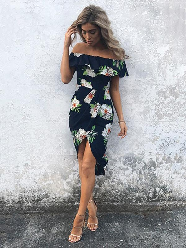 Pretty Cotton Floral Printed Ruffled Off Shoulder Midi Dress