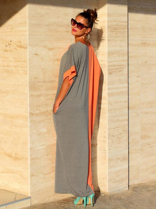 Split Joint Color Round Neck Short Sleeve Loose Maxi Kaftan Dress