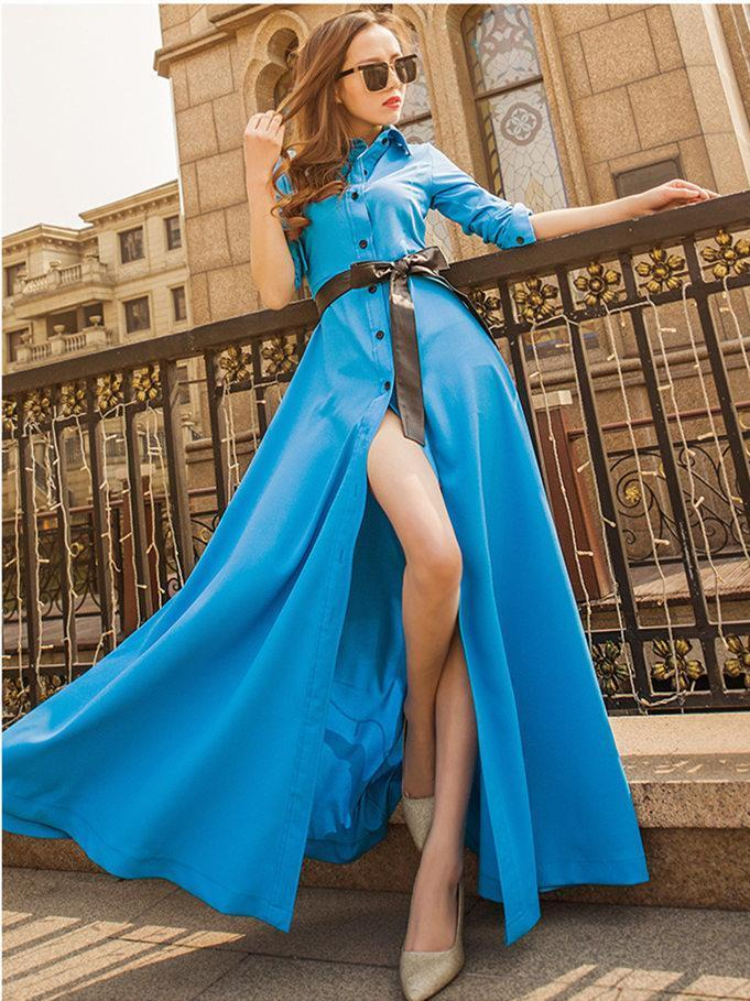 Fashion Solid Color Lapel-neck Floor Maxi Dress