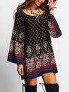 A-line Spaghetti-neck Printed Mini Dress