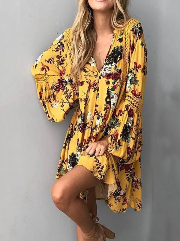Yellow Floral Flared Sleeves V-neck Mini Dress