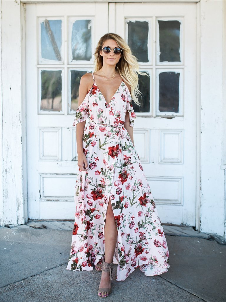 Floral Printed Spaghetti-neck V-neck Maxi Dress
