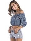 Off-the-shoulder Printed Blouses&Shirts Tops