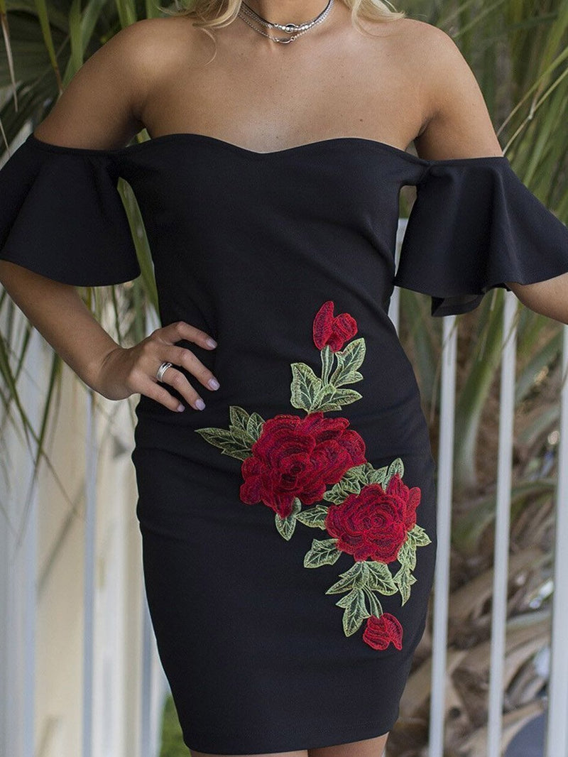 Sexy  Embroidery Strapless Bodycon Mini Dress Party Dress
