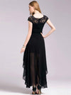 Simple Black Lace Cap Sleeve Maxi Dress Evening Dress