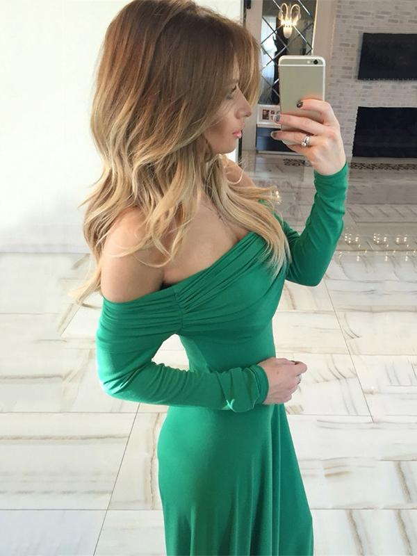 Off-the-shoulder Floor Evening Dress