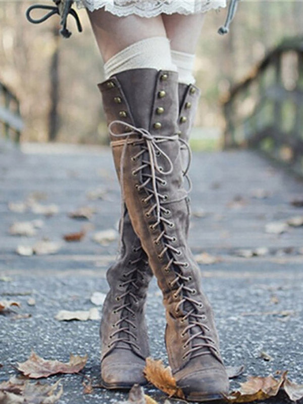 Fashion Rivet Bandage Thigh-high Boots Shoes