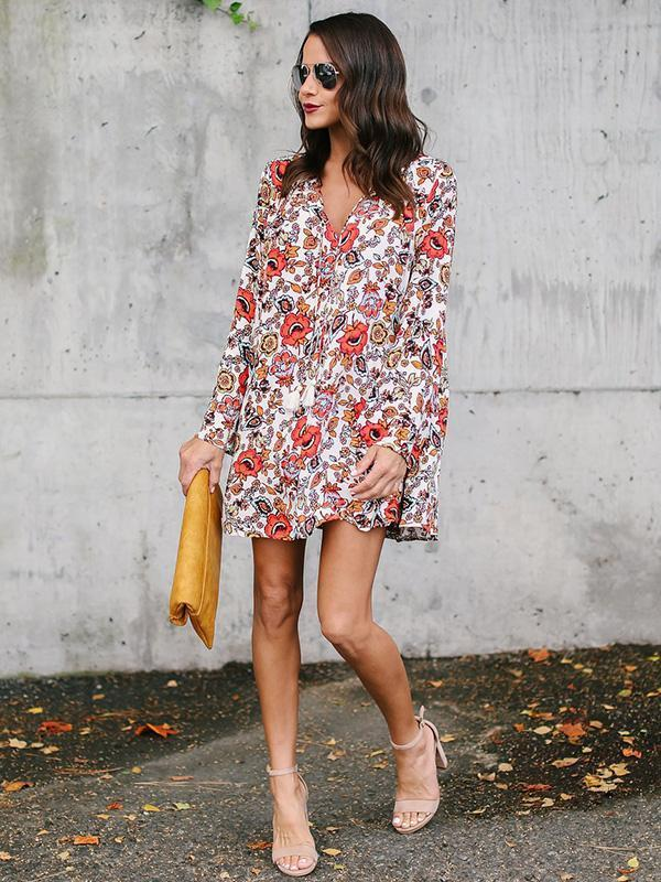 Floral Printed Straps V-neck Mini Dress