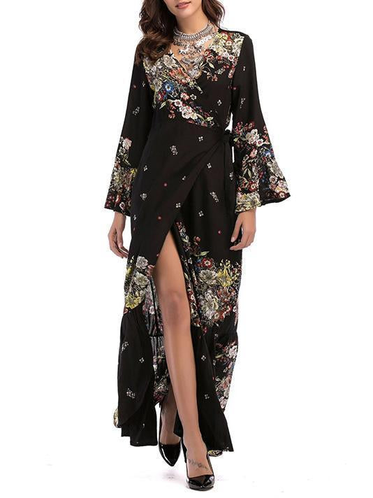 Printed Flared Sleeves V-neck Wrap Maxi Dress