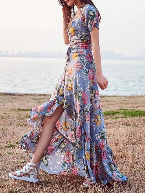 Asymmetric Printed Bohemia Dress