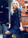 Lace Hollow Split-joint Ruffled Mini Dress
