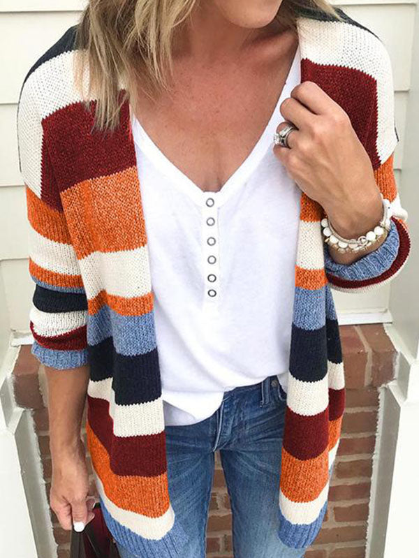 Striped Knit Sweater Cardigans Tops