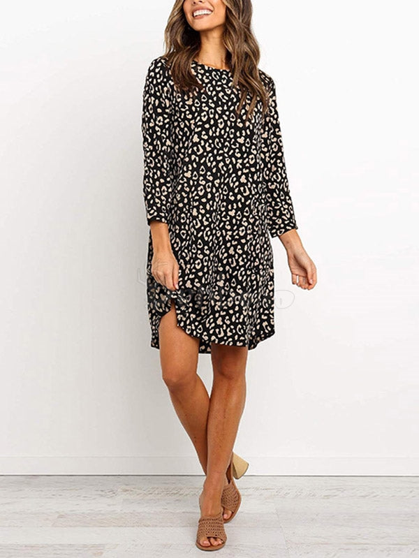 Leopard Print Rouud-neck Mini Dress